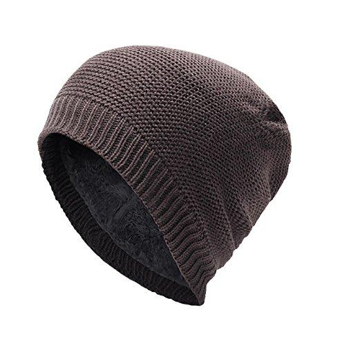 Feoya Unisex Beanie Mütze Wintermütze Strickmütze mit weichem Fleecefutter Klassisches Design Braun