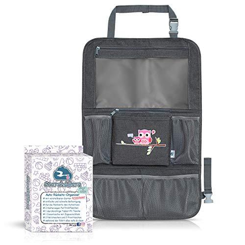 Storch&Born ® Auto Rückenlehnenschutz Kinder, Eulenmotiv Pink, Autositz-Schoner mit Taschen und Tablet-Fach | Auto Rücksitz Organizer | Rücksitztasche