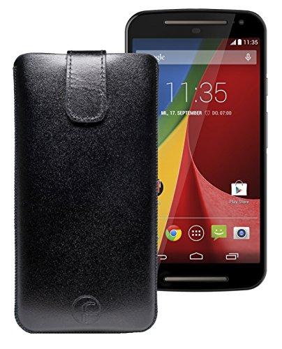 Favory Etui Tasche für / Motorola Moto G 4G LTE (2. Gen.) / Leder Handytasche Ledertasche Schutzhülle Case Hülle *Lasche mit Rückzugfunktion* in schwarz