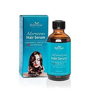 Belle Azul Morroccan Hair Serum, siero per capelli con Olio di Argan biologico. Trattamento per capelli danneggiati, sfibrati, deboli, crespi o secchi. Protegge dai danni causati dal calore termico per un effetto anti-crespo. 100ml