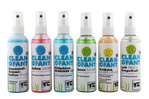 CLEANOFANT Kennenlern-Set - 6 Produkte, je 100 ml - Reiniger und Pflege-Mittel für Wohnwagen, Wohnmobil, Caravan