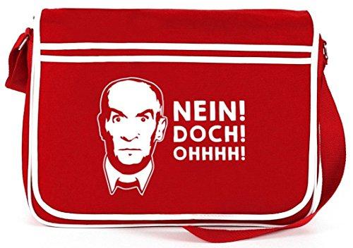 Shirtstreet24, NEIN! DOCH! OHHHH! Retro Messenger Bag Kuriertasche Umhängetasche Rot