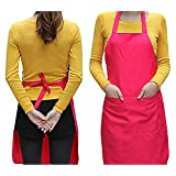 Pggpo Plain Apron with Front Pocket for Kitchen Cooking Craft - Rose