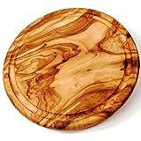 Schneide-Brett aus Olivenholz rund mit Rille 22cm