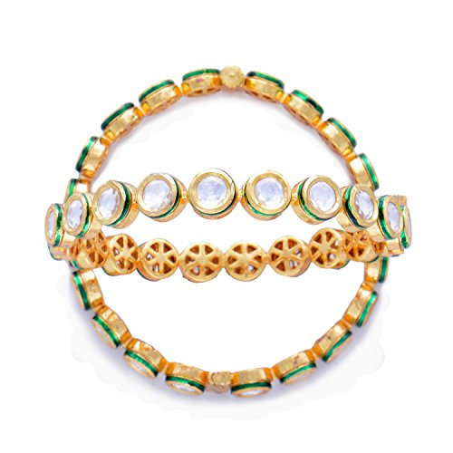 O for Ornament Kundan Meena Traditional Jadau Polki Style Lightweight Openabl Free size Easy Wear Pair of Bangles