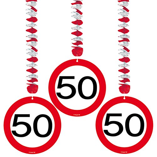 23-tlg. Partyset 50. Geburtstag Dekoset Dekobox – Verkehrschild – Girlanden, Luftballons - 2