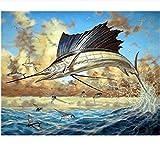 WFYY Peinture à l'huile de Bricolage sur Toile d'espadon dans la mer pour Les Enfants Adultes peignent par des Kits de nombres-sans Cadre 16X20 inch