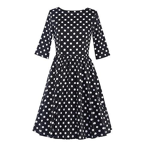 DaBag - Autumn Retro Monochrome Polka Dots Women Elegant Round Collar Long Sleeves Solid Waist Slim Maxi Swing Dresses (L,