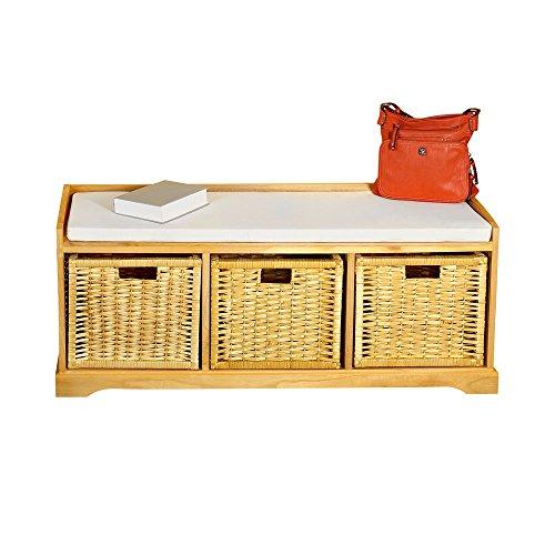 Melko® Sitzbank-Kommode mit Stauraum 3 Körbe, Flurbank aus Rattan inkl. Sitzpolster, braun, 109 x 46 x 36,5 (B x H x T)