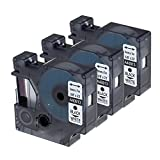Anycolor 3X Schriftband Kompatibel zu Dymo 40913 S0720680 Schwarz auf Weiß Etikettenband D1-Etikettenbandkassette 9mm x 7m