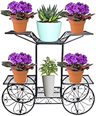 Nayab Handicrafts Parisian Style Metal Garden Cart 6 Tiers Flower Pot Plant Holder Display Rack Without Pots