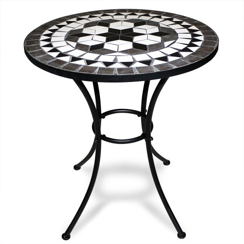 Deuba Mosaic Bistro Table with Powder Coated Steel Base Outdoor Round Garden Balcony Tables Black/White