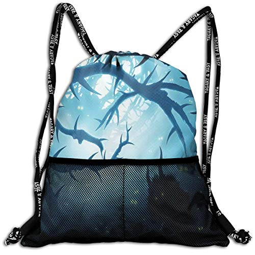 ckpacks Bags,Animal with Burning Eyes In The Dark Forest at Night Horror Halloween Illustration,5 Liter Capacity,Adjustable ()