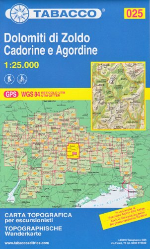 25 Dolomiti Di Zoldo, Cadorine e Agordine, 1:25.000 randonnée topographique, le cyclisme et le ski de randonnée carte (Dolomites, Alpes)