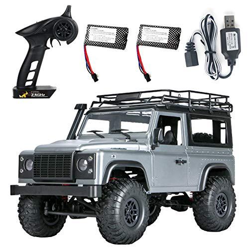 Yiwa Voiture tout-terrain de chenille RC de MN 99s 2.4G 1/12 4WD RTR Buggy tout-terrain pour le modèle de véhicule de Land Rover gris Deux batteries