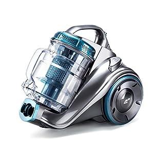 PUPPYOO WP9002F beutelloser Bodenstaubsauger (800 W, inkl. 3 perfekte Düsen mit Saugkraft - Regulierung, 7,5 m Aktionsradius, 2,0 L Staubbehälter, waschbarer HEPA Filter) Blau & Grau
