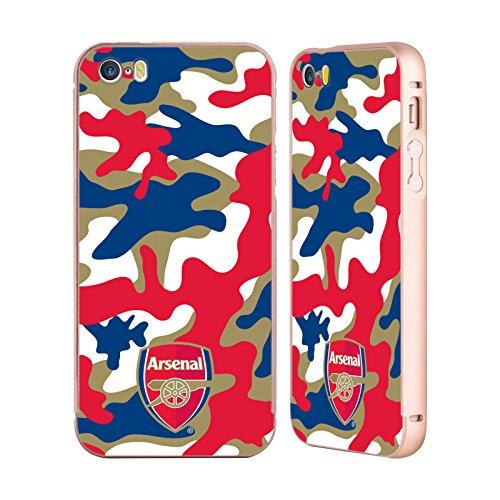Ufficiale Arsenal FC Mimetizzazione 2017/18 Modelli Crest Oro Cover Contorno con Bumper in Alluminio per Apple iPhone 5 / 5s / SE Mimetizzazione