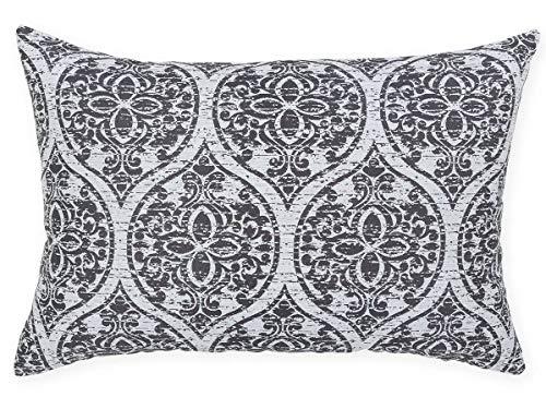 Antilo Housse de Coussin Amara 60 x 40 cm – Couleur Bleue (décoration pour Le lit ou Le canapé, complément idéal pour la Chambre et Le Salon au Design Moderne) Gris Perle