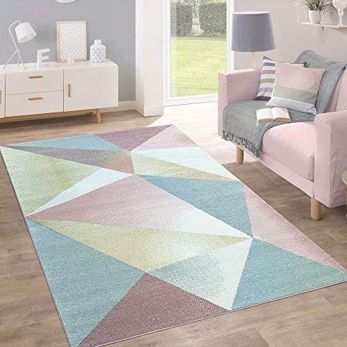 Paco Home Teppich Kurzflor Modern Trendig Pastell Geometrisches Design Inspiration Multi, Grösse:200x280 cm -