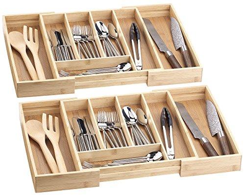 Rosenstein & Söhne Schubladeneinsatz: 2er-Set variable Bambus-Besteckeinsätze, 5 - 7 Fächer, 36 - 59,5 cm (Besteckkasteneinlagen)