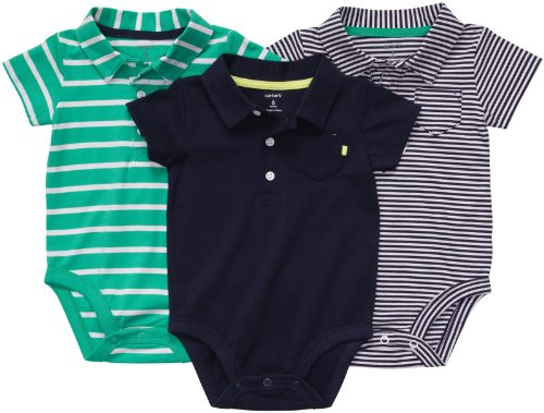 Carters Baumwolle Bodys (CARTER'S 3-er Pack 50/56 Body Set Kleidung girl 3 Teile US SIZE newborn Polo Shirt für Jungen Baby (newborn, blau/grün))