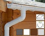 Dachrinnen/Regenrinnen Set | Pultdach (1 Dachseite) | GD16 | in 4 Farben! (Komplettes Set bis 3.50 m, Weiß)