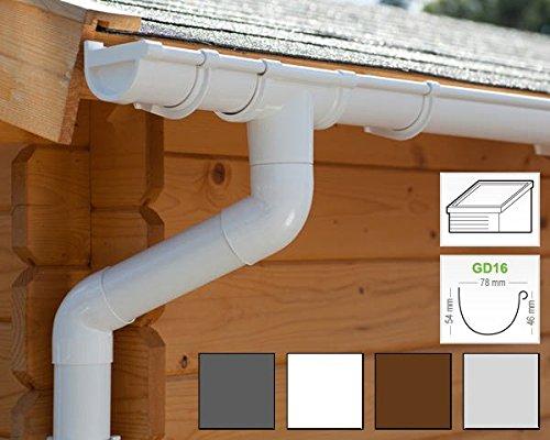 Dachrinnen/Regenrinnen Set | Pultdach (1 Dachseite) | GD16 | in 4 Farben! (Komplettes Set bis 7.00 m, Weiß)