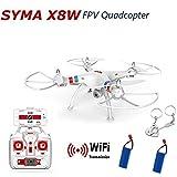 Syma X8W Elicottero RTF Quadcopter Drone WiFi FPV RTF Fotocamera HD 2MP Registrazione +2 Extra Batteria (Bianco, Originale pacchetto + Extra Due batteria)