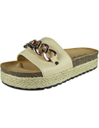Womens Ladies Comfy Sliders Flats Shoes Slides Espadrilles Chain Slippers Size