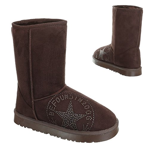 Damen Schuhe, 501-1, BOOTS WARM GEFÜTTERTE STIEFELETTTEN Braun