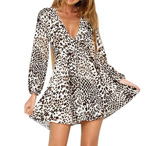 Party Animal Kostüm Weiblich - Moonuy Frauen voll Ärmeln Kleid weibliche A-Linie Party Kleid Mode Leopart Print Wrap Kleid V-Ausschnitt Langarm Party Club Mini Tee Kleid
