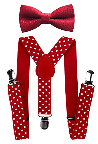 axy Hochwertige Kinder Hosenträger-Y Form mit Fliege- 3 Clips EXTRA STARK-Uni Farben (Rot-Weiße Punkte)