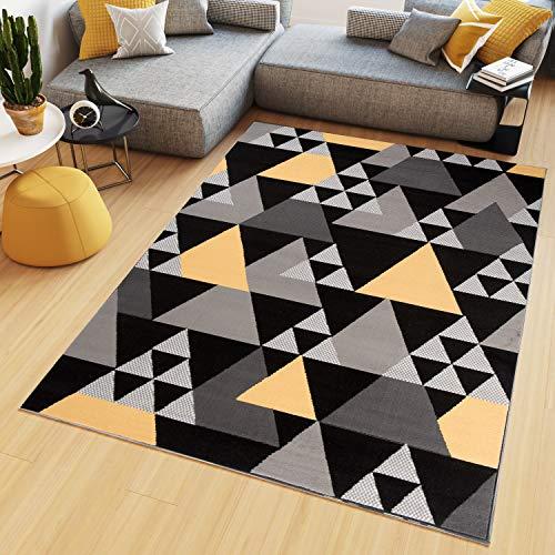 Tapiso Maya Teppich Wohnzimmer Kurzflor Modern Dreiecke Meliert Design Schwarz Gelb Grau Schlafzimmer Büro Küche ÖKOTEX 200 x 300 cm -