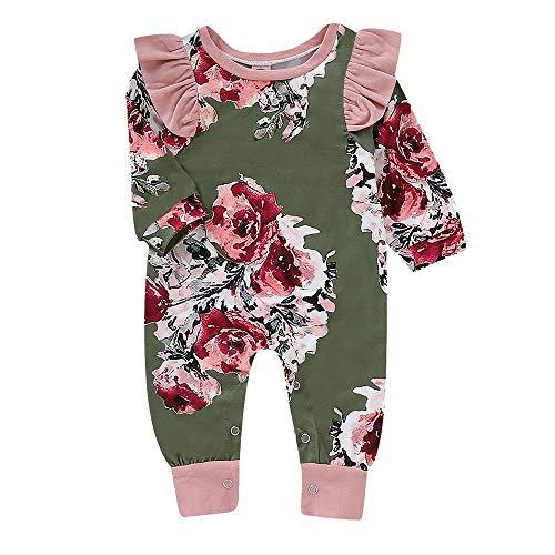 Jimmackey neonata bambine maniche lunghe ruched floreale stampa pagliaccetto falbala tutine body, da 0 a 24 mesi bebè
