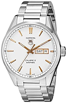 TAG Heuer Men's Carrera 41mm Steel Bracelet & Case Automatic Silver-Tone Dial Analog Watch WAR201D.BA0723