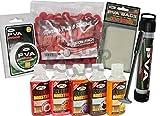 PVA-Set zum Karpfenangeln & 5Flüssigkeiten, Kolben mit Auspress-Stempel + 7m Leine + Beutel
