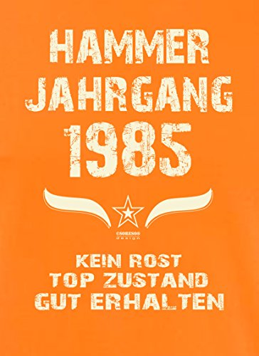 Bequemes 32. Jahre Fun T-Shirt zum Männer-Geburtstag Hammer Jahrgang 1985 Ideale Geschenkidee zum Jubeltag Farbe: orange Orange