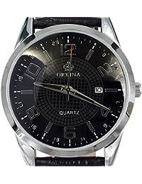 Orkina con esfera negra y correa de cuero de visualización de la fecha de hombres en los negocios de moda reloj de pulsera de la muñeca