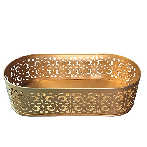 Elan Flecked Oval Tray, Decorative Metal Serving Tray For Starters, Gold