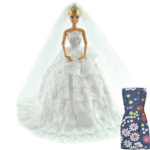 E-ting principessa bambola sposa abito abito pizzo floreale abito ricamo barbie vestiti cenerentola sera partito outfit set + velo impostato per barbie doll---miglior regalo per la vostra ragazze (bambola non è incluso)