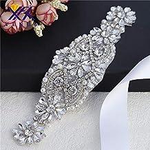 Rhinestone Applique con cristales y perlas para el vestido Headpieces Bolsas (plata)