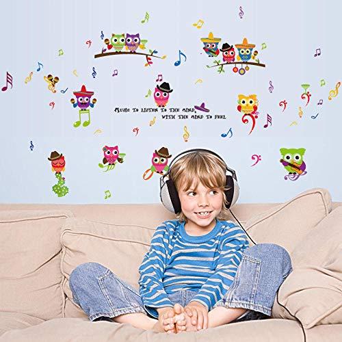 Wandaufkleber Eule Spielen Musik Kinderzimmer Schlafzimmer Veranda Schränke Kindergarten Klassenzimmer Layout PVC Tapete