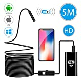 Wireless Endoscope, WiFi Borescope Inspection Camera 2 in 1 2.0 Megapixels HD Waterproof