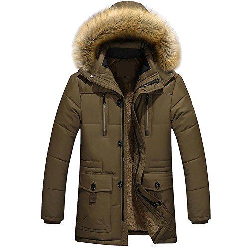 M&C Herren Winterjacke südkoreanischen Stil Freizeit und Samt mit dicker Baumwolle-gepolsterte Jacke In den oberen männlichen langen Trend