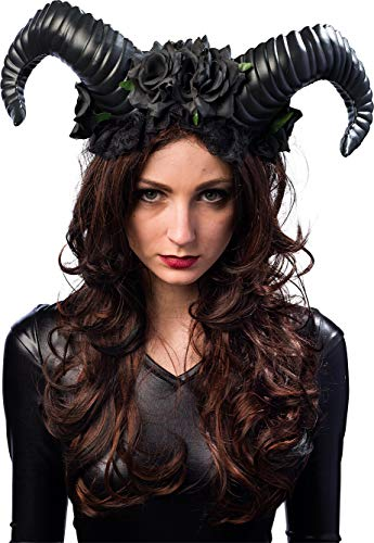 Kostüm Engel Oder Teufel - Orlob Teufelshörner mit Blumen - Schwarz - Haarreif perfekt zum Böse Königin, Dunkle Fee, Dämon, Teufel Kostüm an Halloween, Fasching, Motto Party oder Karneval