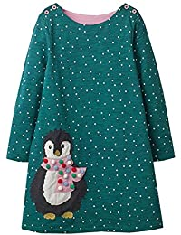 VIKITA Mädchen Baumwolle Langarm Streifen Tiere T-Shirt Kleid 1-6 Jahre