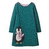 VIKITA Mädchen Baumwolle Langarm Streifen Tiere T-Shirt Kleid JM7735 2T
