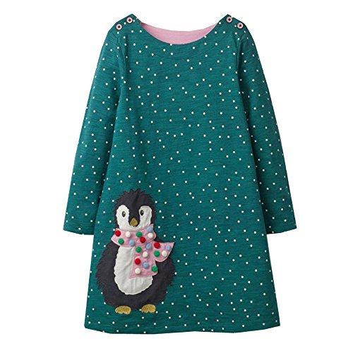 VIKITA Mädchen Baumwolle Langarm Streifen Tiere T-Shirt Kleid EINWEG JM7735 3T