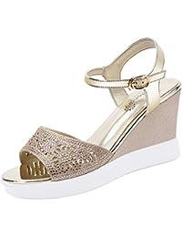 Zapatos de Mujer PU 2018 Verano Nueva Comodidad Sandalias Tacón de cuña para Sandalias de Suela