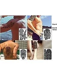 Tribal Tattoo Noir 4feuilles temporaire Arm Bras tatouage autocollants Maori 4